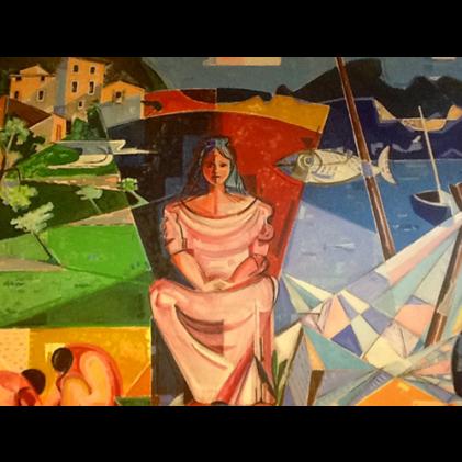 Il murale di Toni Fertonani nella Sala Municipale di Brenzone